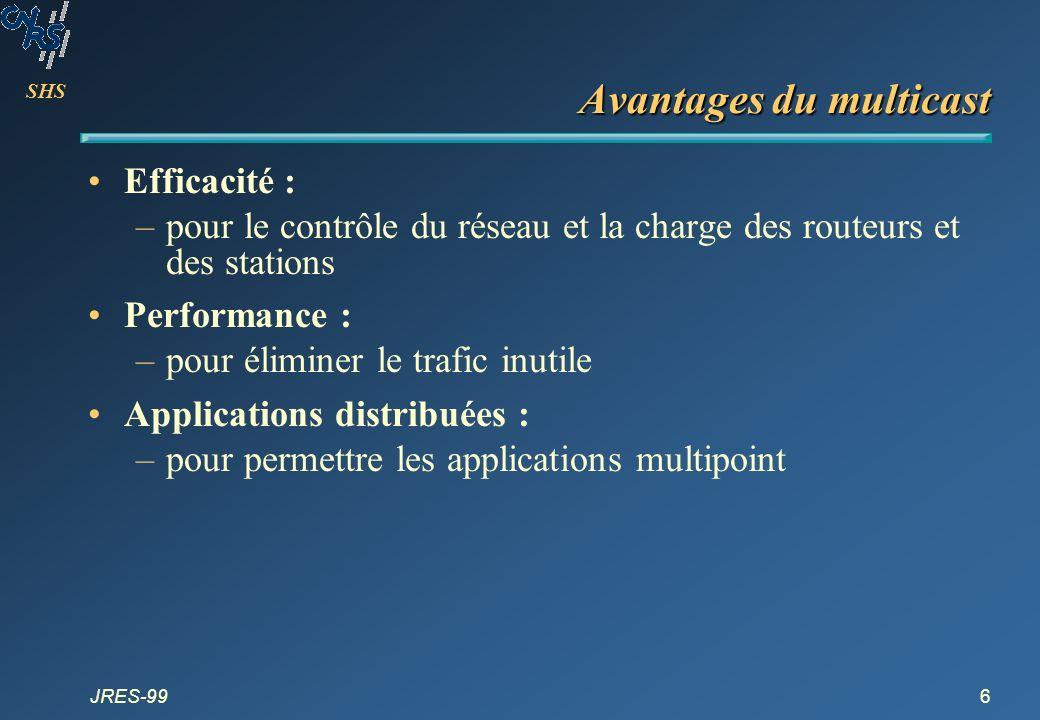 SHS JRES-9917 Agenda Pourquoi le multicast IP .