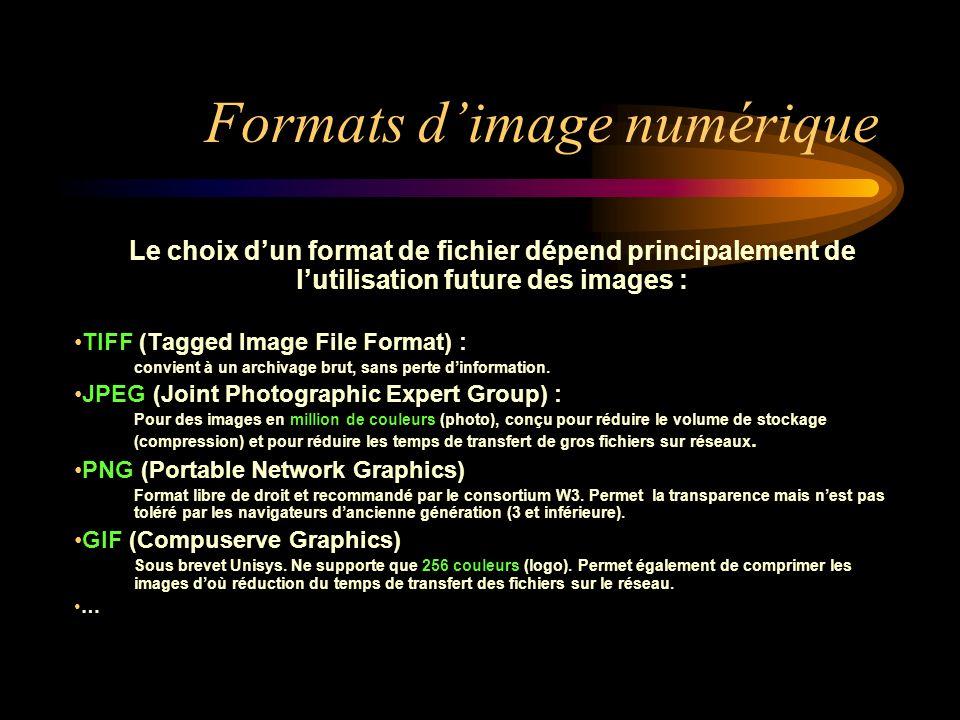 Formats dimage numérique Le choix dun format de fichier dépend principalement de lutilisation future des images : TIFF (Tagged Image File Format) : co