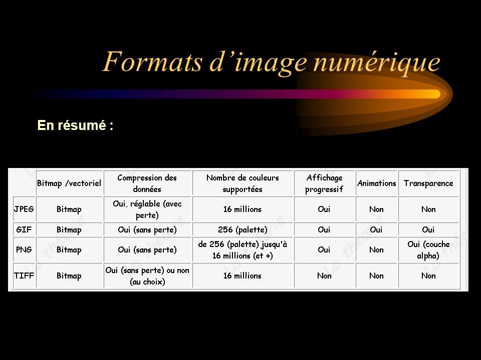 Formats dimage numérique En résumé :