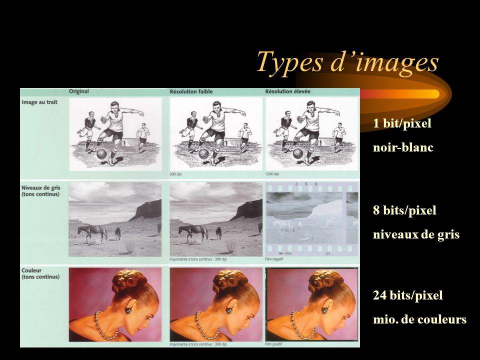 Types dimages 1 bit/pixel noir-blanc 8 bits/pixel niveaux de gris 24 bits/pixel mio. de couleurs
