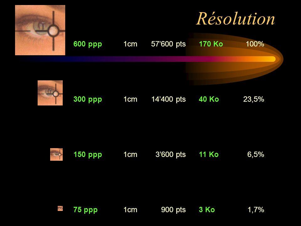 600 ppp1cm57600 pts170 Ko100% 300 ppp1cm14400 pts40 Ko23,5% 150 ppp1cm3600 pts11 Ko6,5% 75 ppp1cm900 pts3 Ko1,7% Résolution