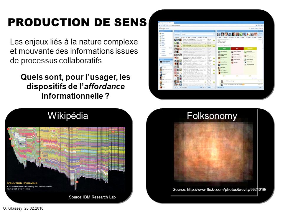 O. Glassey, 26.02.2010 PRODUCTION DE SENS Source: IBM Research Lab Les enjeux liés à la nature complexe et mouvante des informations issues de process