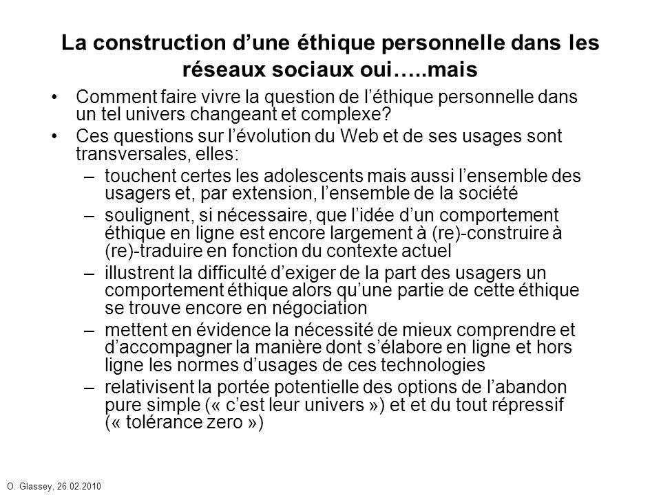 O. Glassey, 26.02.2010 La construction dune éthique personnelle dans les réseaux sociaux oui…..mais Comment faire vivre la question de léthique person