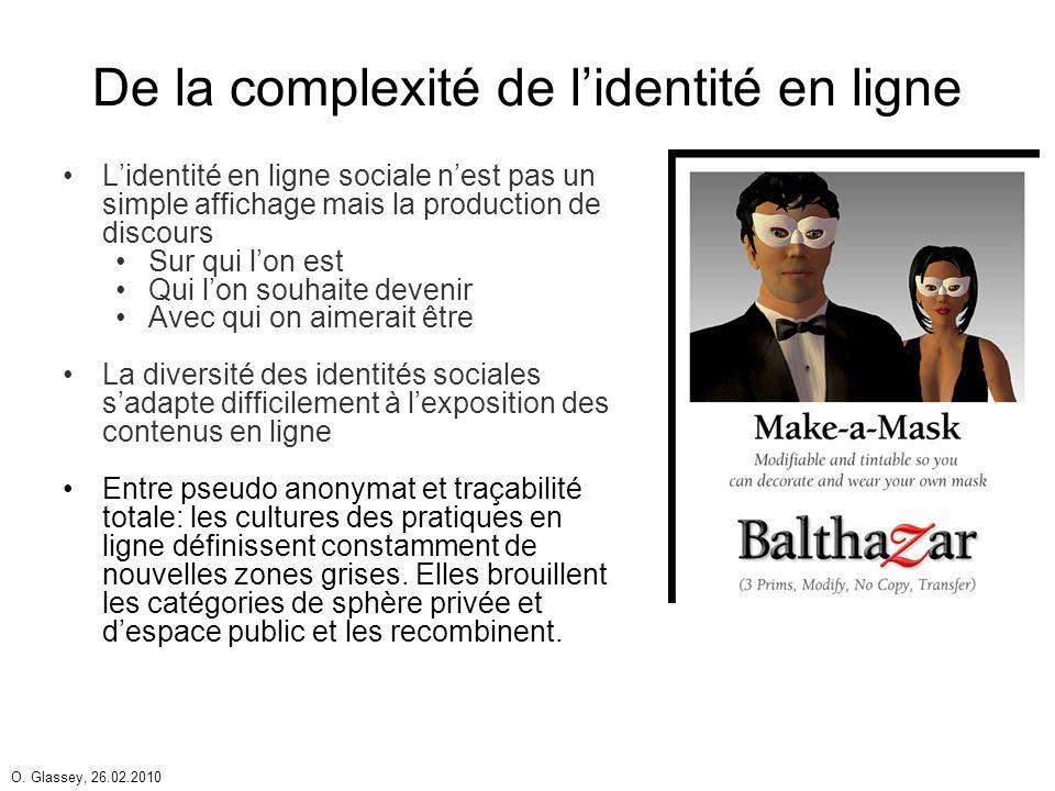 O. Glassey, 26.02.2010 De la complexité de lidentité en ligne Lidentité en ligne sociale nest pas un simple affichage mais la production de discours S