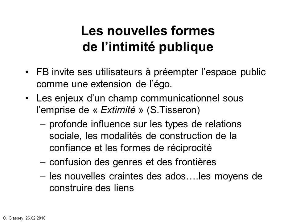 O. Glassey, 26.02.2010 Les nouvelles formes de lintimité publique FB invite ses utilisateurs à préempter lespace public comme une extension de légo. L