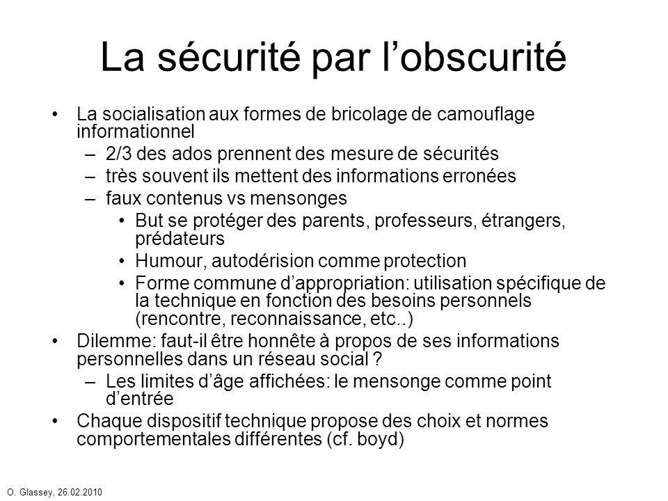 O. Glassey, 26.02.2010 La sécurité par lobscurité La socialisation aux formes de bricolage de camouflage informationnel –2/3 des ados prennent des mes