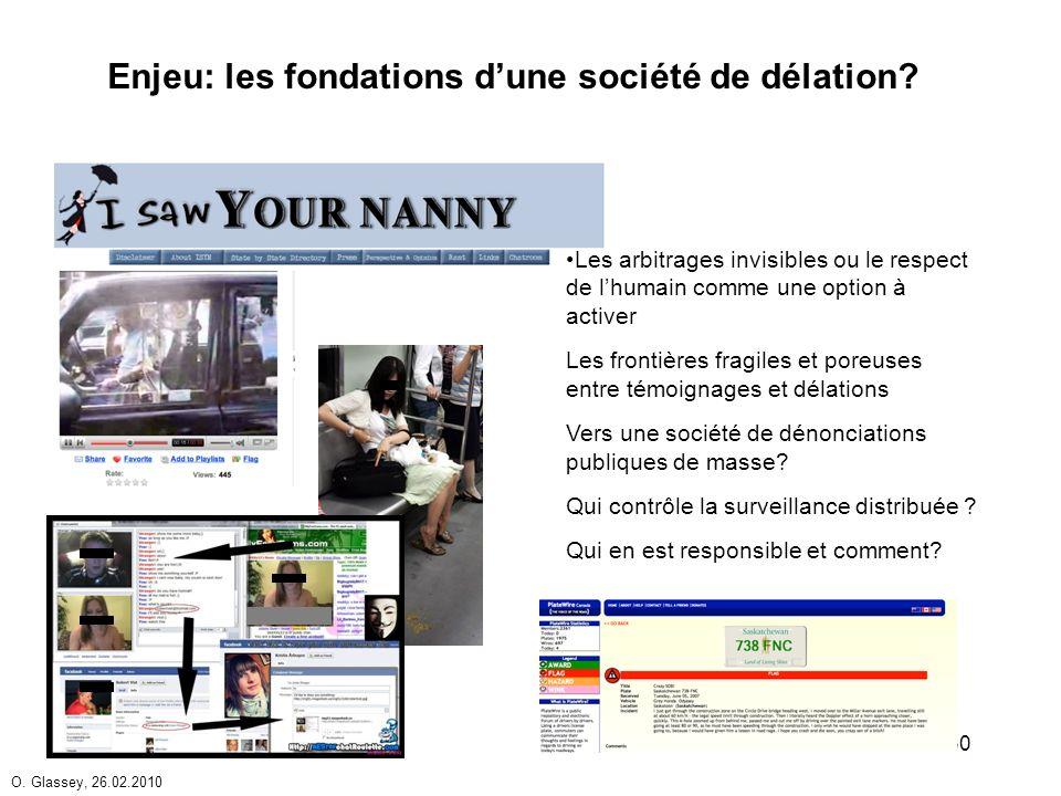 O. Glassey, 26.02.2010 30 Enjeu: les fondations dune société de délation.