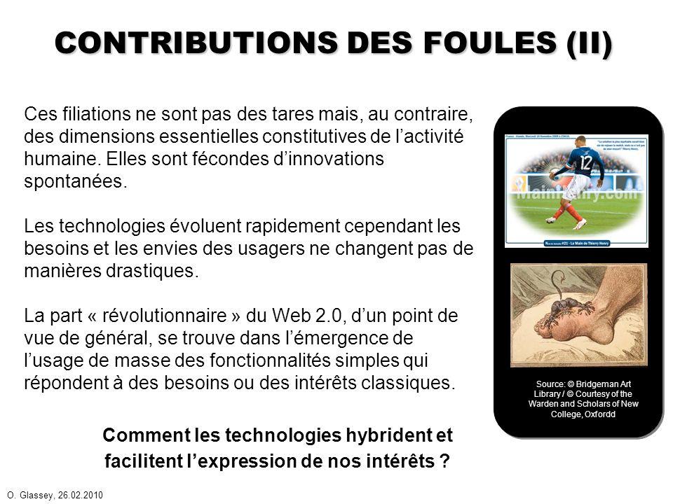 O. Glassey, 26.02.2010 CONTRIBUTIONS DES FOULES (II) Ces filiations ne sont pas des tares mais, au contraire, des dimensions essentielles constitutive