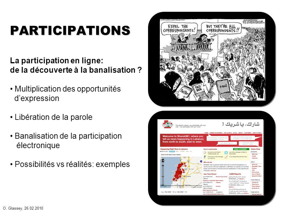 O.Glassey, 26.02.2010 PARTICIPATIONS (II) Emergence de cultures de la participation.