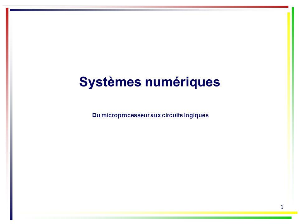 22 Portes logiques é l é mentaires Simplification d une fonction logique N 0 1 2 3 4 5 6 7 8 9 10 11 12 13 14 15 DCBA 0000 0001 0010 0011 0100 0101 0110 0111 1000 1001 1010 1011 1100 1101 1110 1111 Exemple: afficheur 7-segments traduction visuelle de nombres écrits en binaire sur un afficheur comportant 7 DEL le décodeur est un circuit qui active les segments de a à g en fonction du code de N a g d b ce f table de Karnaugh: 0 BA DC 111 00011110 00 01 11 10 011111xxxxxx