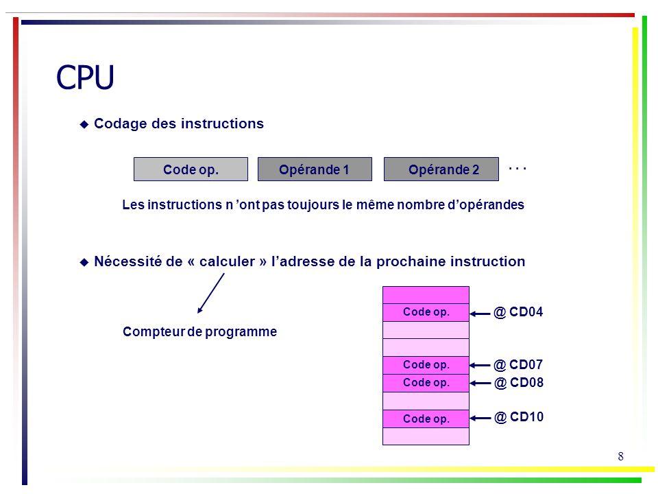 9 CPU recherche de linstr.lecture de linstruction décodage de linstr.