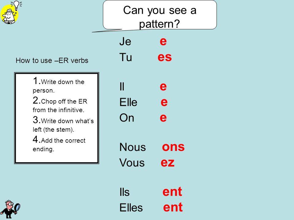 How to use –ER verbs Je e Tu es Il e Elle e On e Nous ons Vous ez Ils ent Elles ent Can you see a pattern? 1. Write down the person. 2. Chop off the E