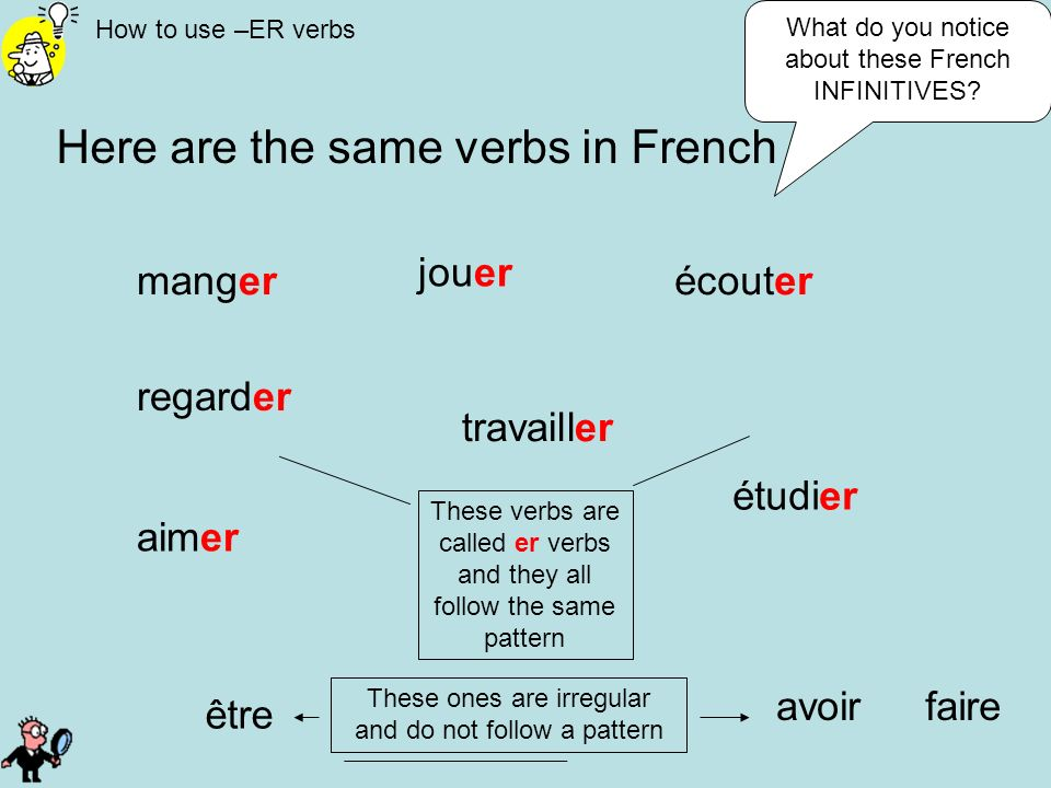 How to use –ER verbs Here are the same verbs in French manger jouer écouter regarder être avoir aimer travailler étudier What do you notice about thes