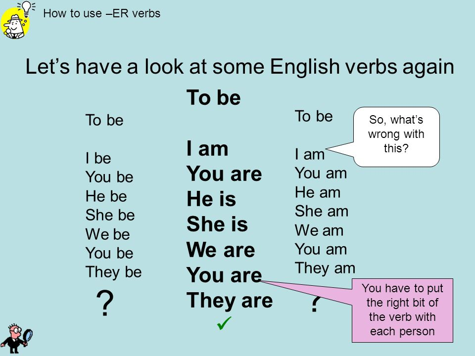 How to use –ER verbs Lets have a look at some English verbs again To be I be You be He be She be We be You be They be ? To be I am You am He am She am