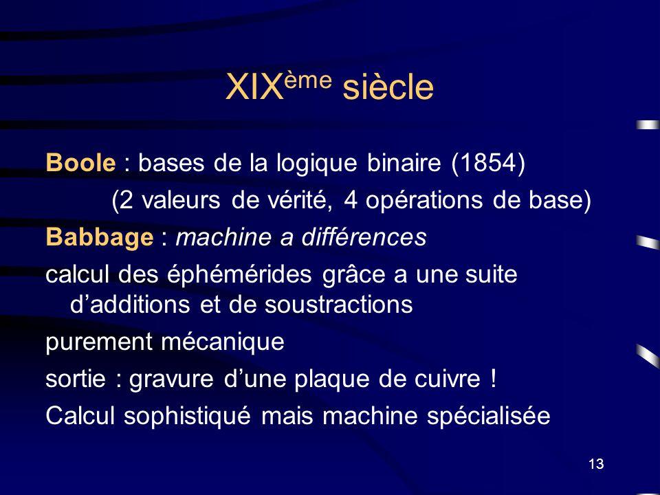 13 XIX ème siècle Boole : bases de la logique binaire (1854) (2 valeurs de vérité, 4 opérations de base) Babbage : machine a différences calcul des ép