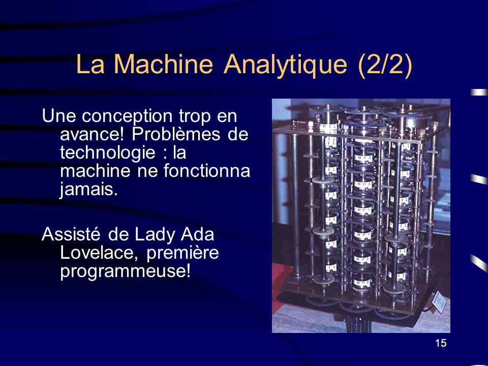 15 La Machine Analytique (2/2) Une conception trop en avance! Problèmes de technologie : la machine ne fonctionna jamais. Assisté de Lady Ada Lovelace