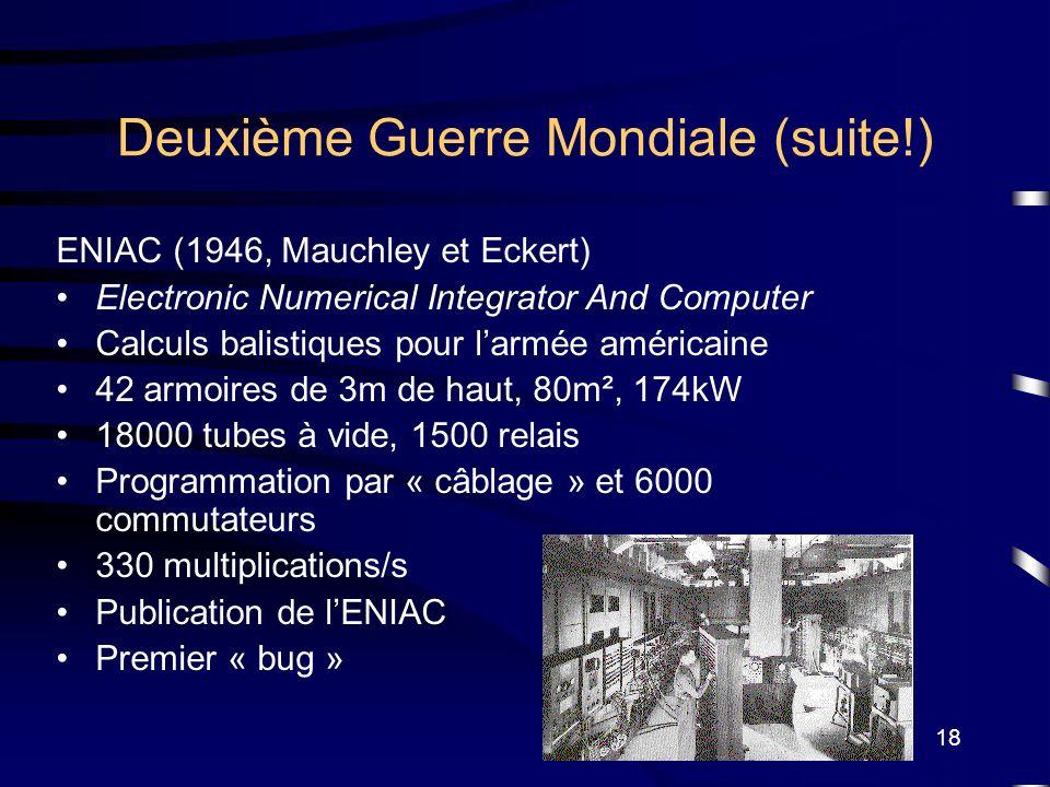 18 Deuxième Guerre Mondiale (suite!) ENIAC (1946, Mauchley et Eckert) Electronic Numerical Integrator And Computer Calculs balistiques pour larmée amé