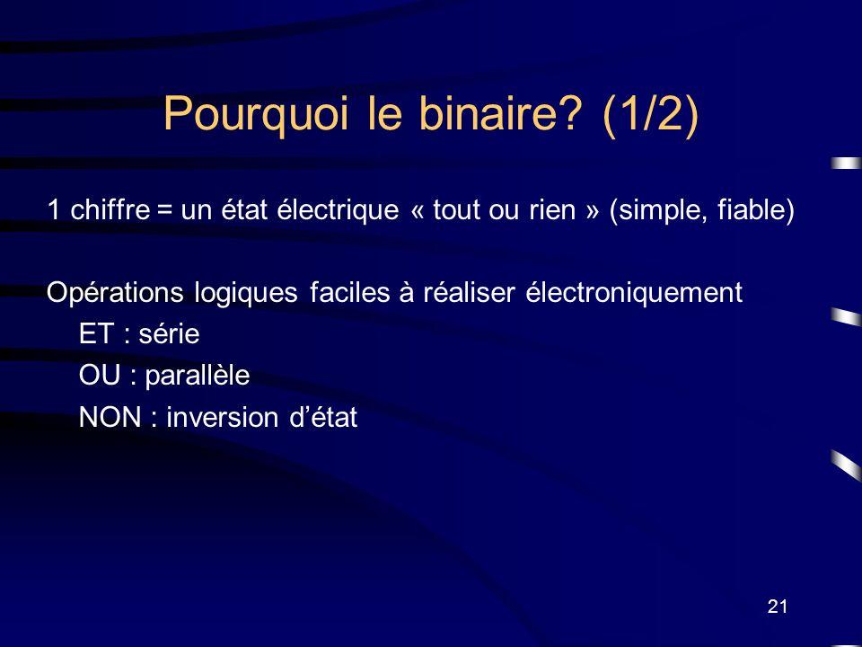 21 Pourquoi le binaire? (1/2) 1 chiffre = un état électrique « tout ou rien » (simple, fiable) Opérations logiques faciles à réaliser électroniquement