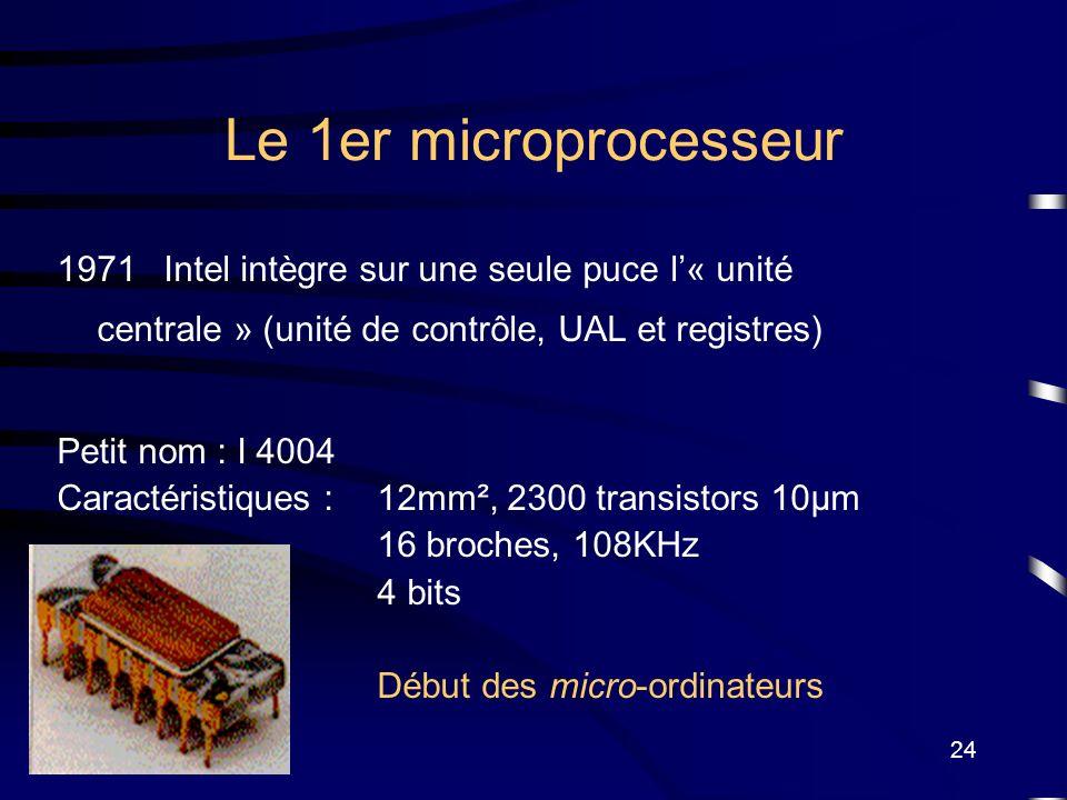 24 Le 1er microprocesseur 1971Intel intègre sur une seule puce l« unité centrale » (unité de contrôle, UAL et registres) Petit nom : I 4004 Caractéris