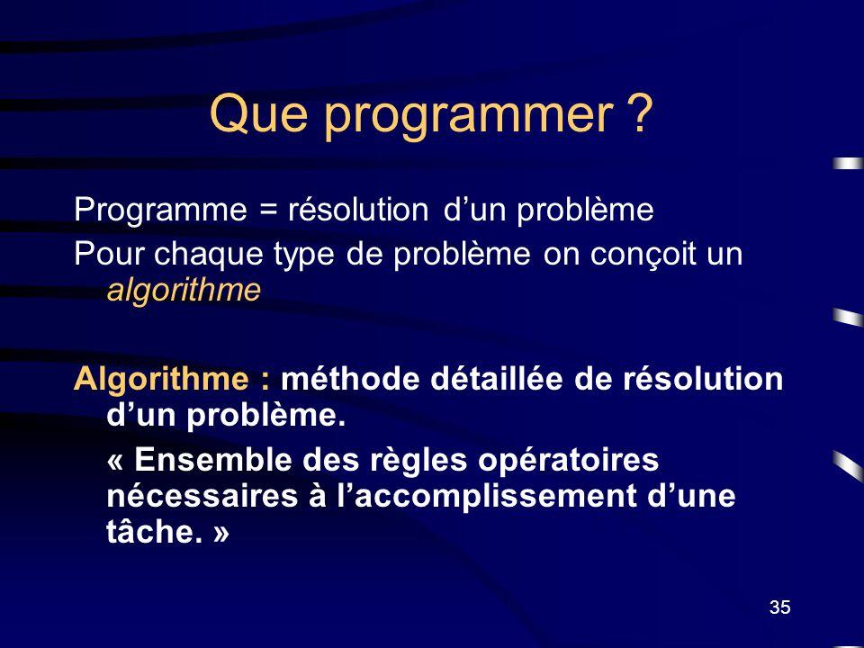 35 Que programmer ? Programme = résolution dun problème Pour chaque type de problème on conçoit un algorithme Algorithme : méthode détaillée de résolu