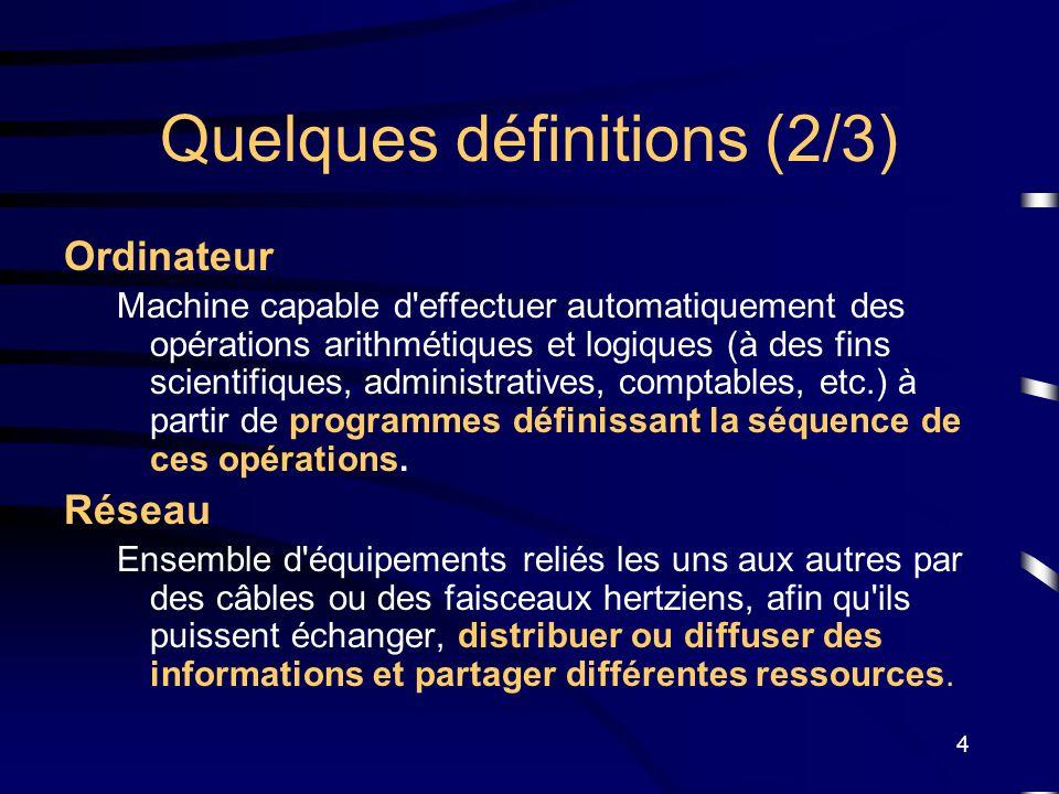 4 Quelques définitions (2/3) Ordinateur Machine capable d'effectuer automatiquement des opérations arithmétiques et logiques (à des fins scientifiques