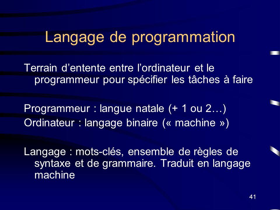 41 Langage de programmation Terrain dentente entre lordinateur et le programmeur pour spécifier les tâches à faire Programmeur : langue natale (+ 1 ou
