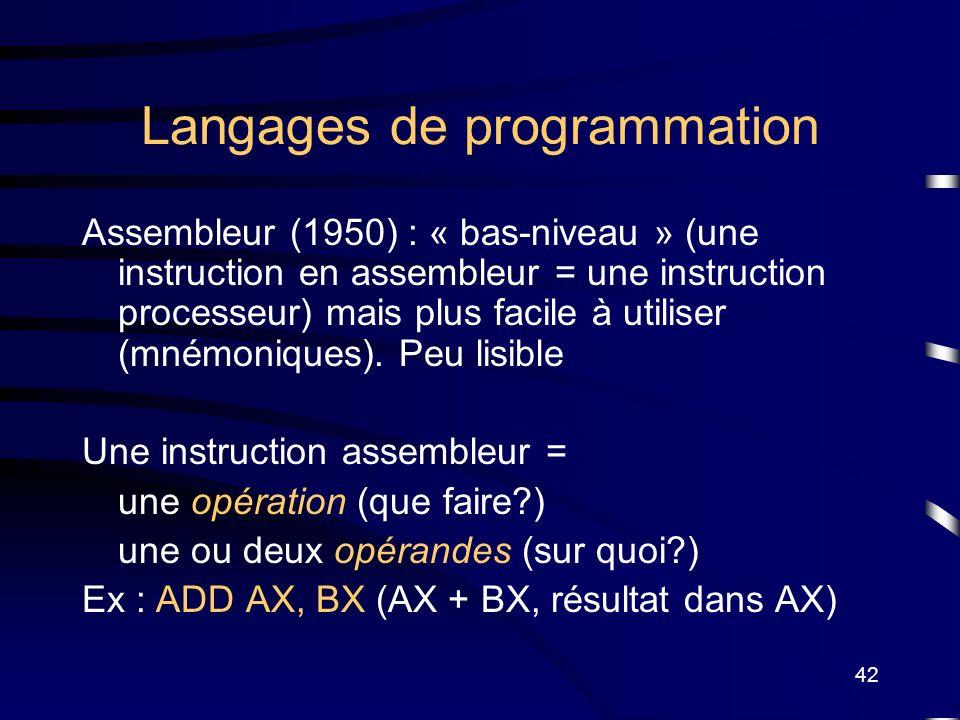 42 Langages de programmation Assembleur (1950) : « bas-niveau » (une instruction en assembleur = une instruction processeur) mais plus facile à utilis