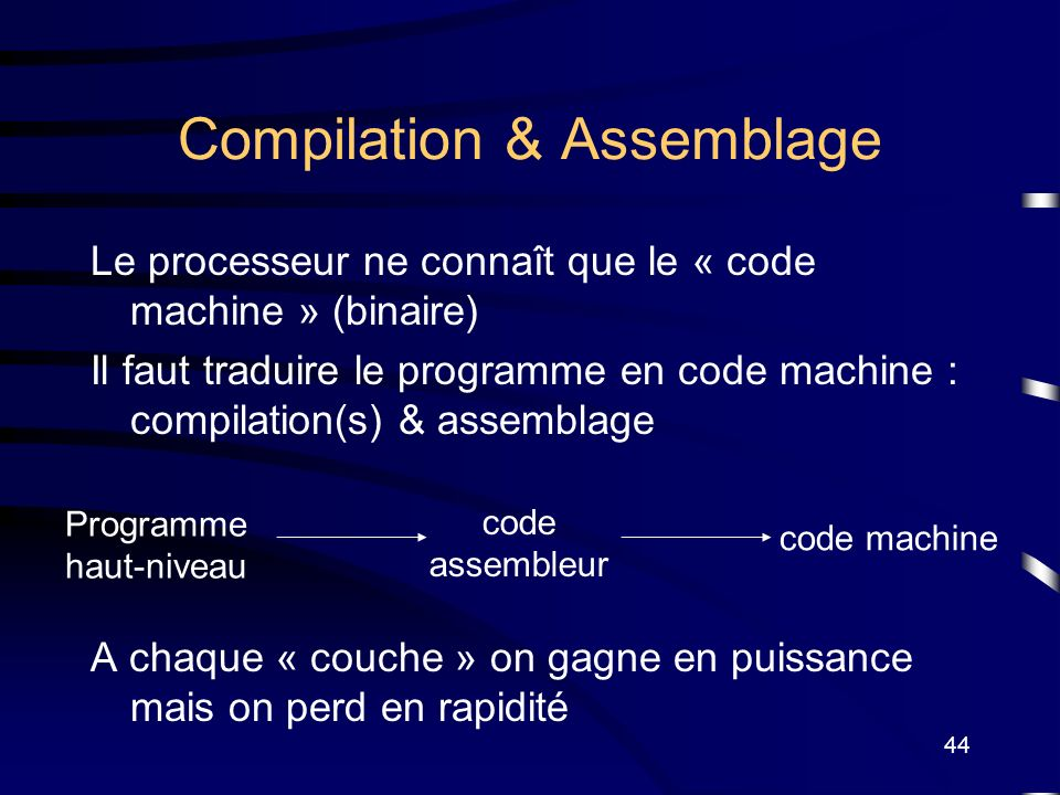 44 Compilation & Assemblage Le processeur ne connaît que le « code machine » (binaire) Il faut traduire le programme en code machine : compilation(s)