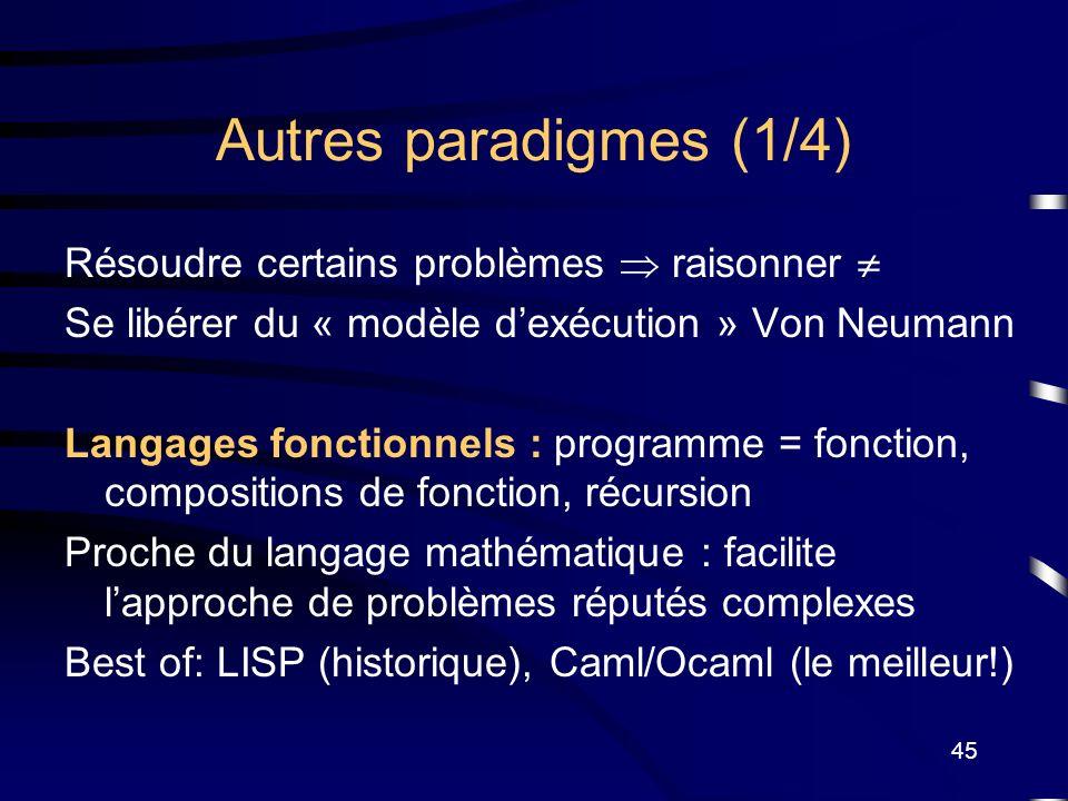 45 Autres paradigmes (1/4) Résoudre certains problèmes raisonner Se libérer du « modèle dexécution » Von Neumann Langages fonctionnels : programme = f