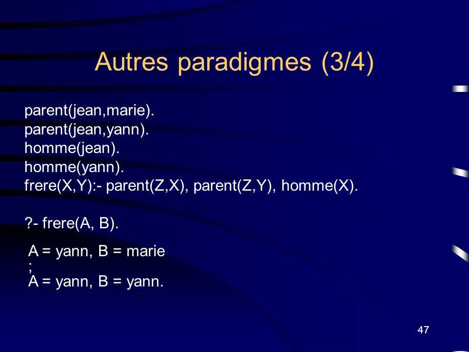 47 Autres paradigmes (3/4) parent(jean,marie). parent(jean,yann). homme(jean). homme(yann). frere(X,Y):- parent(Z,X), parent(Z,Y), homme(X). ?- frere(