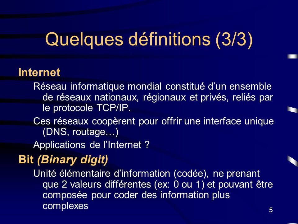 5 Quelques définitions (3/3) Internet Réseau informatique mondial constitué dun ensemble de réseaux nationaux, régionaux et privés, reliés par le prot