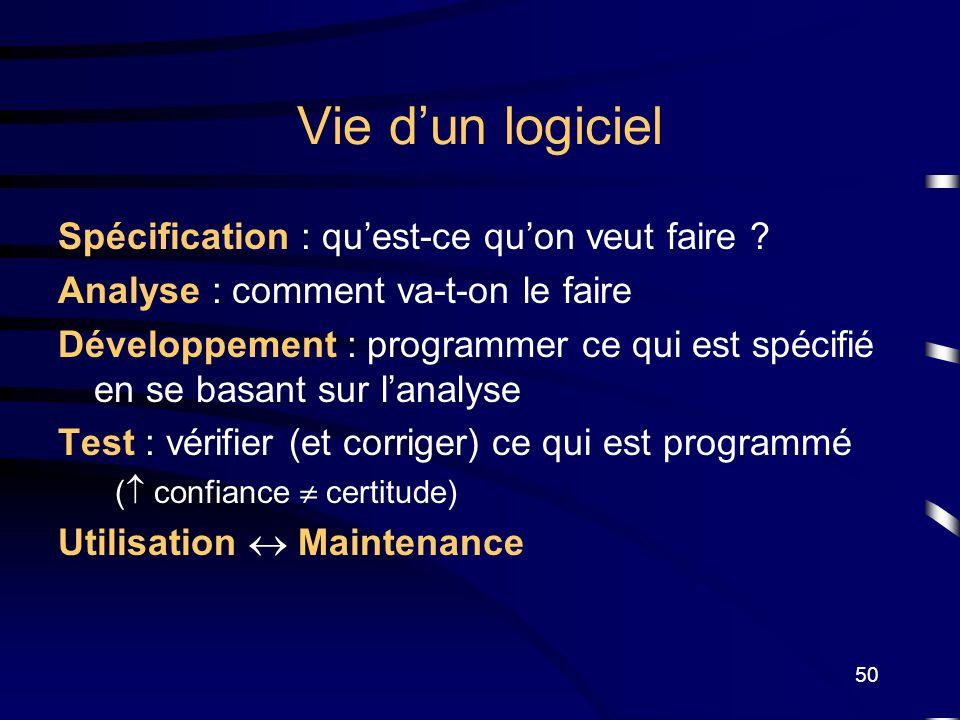 50 Vie dun logiciel Spécification : quest-ce quon veut faire ? Analyse : comment va-t-on le faire Développement : programmer ce qui est spécifié en se