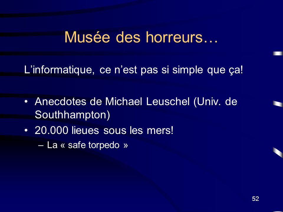 52 Musée des horreurs… Linformatique, ce nest pas si simple que ça! Anecdotes de Michael Leuschel (Univ. de Southhampton) 20.000 lieues sous les mers!