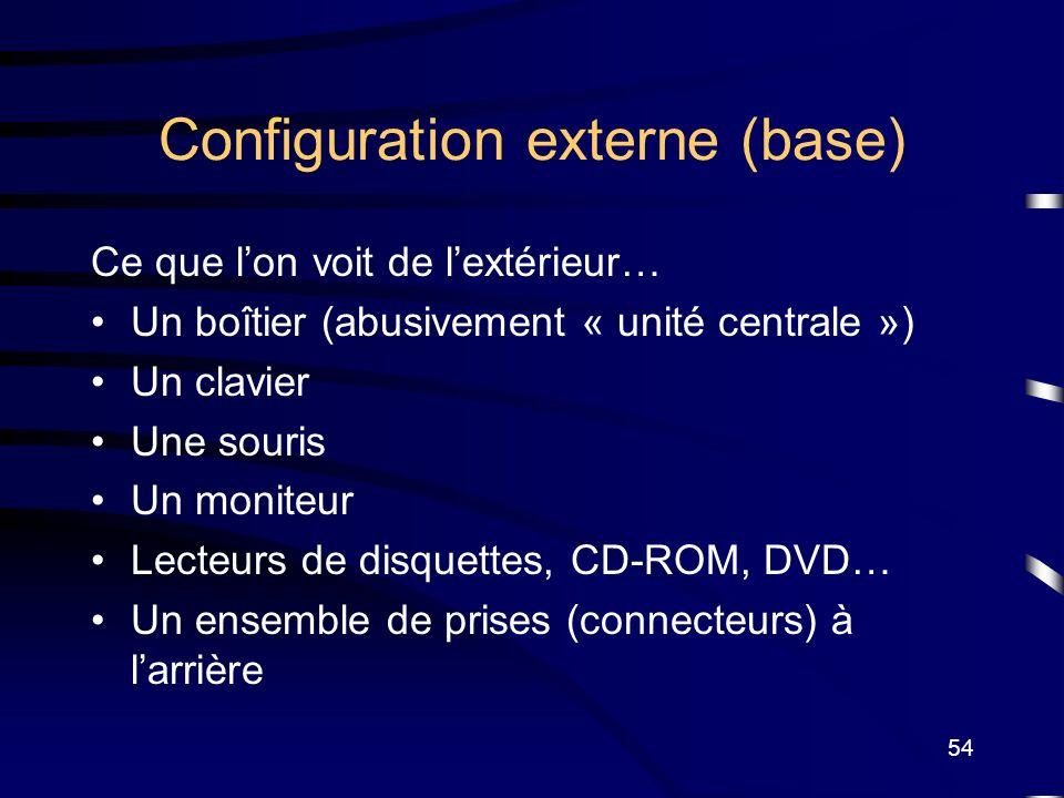 54 Configuration externe (base) Ce que lon voit de lextérieur… Un boîtier (abusivement « unité centrale ») Un clavier Une souris Un moniteur Lecteurs