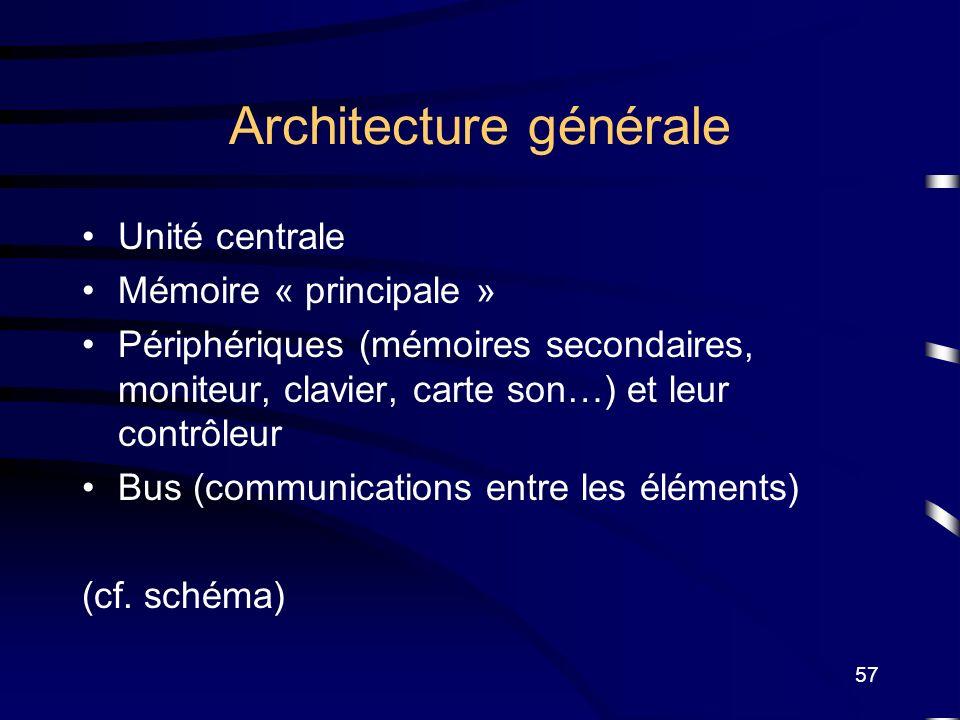57 Architecture générale Unité centrale Mémoire « principale » Périphériques (mémoires secondaires, moniteur, clavier, carte son…) et leur contrôleur