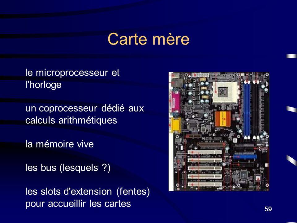 59 Carte mère le microprocesseur et l'horloge un coprocesseur dédié aux calculs arithmétiques la mémoire vive les bus (lesquels ?) les slots d'extensi
