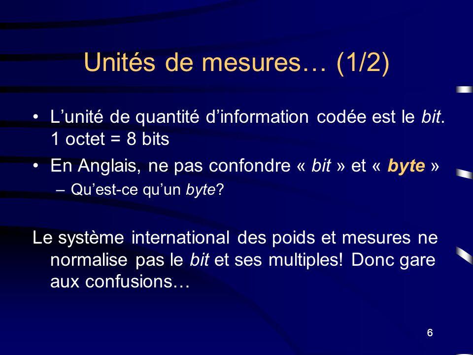6 Unités de mesures… (1/2) Lunité de quantité dinformation codée est le bit. 1 octet = 8 bits En Anglais, ne pas confondre « bit » et « byte » –Quest-