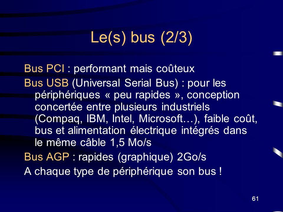 61 Le(s) bus (2/3) Bus PCI : performant mais coûteux Bus USB (Universal Serial Bus) : pour les périphériques « peu rapides », conception concertée ent