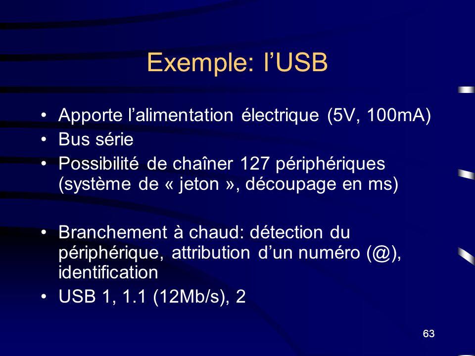 63 Exemple: lUSB Apporte lalimentation électrique (5V, 100mA) Bus série Possibilité de chaîner 127 périphériques (système de « jeton », découpage en m
