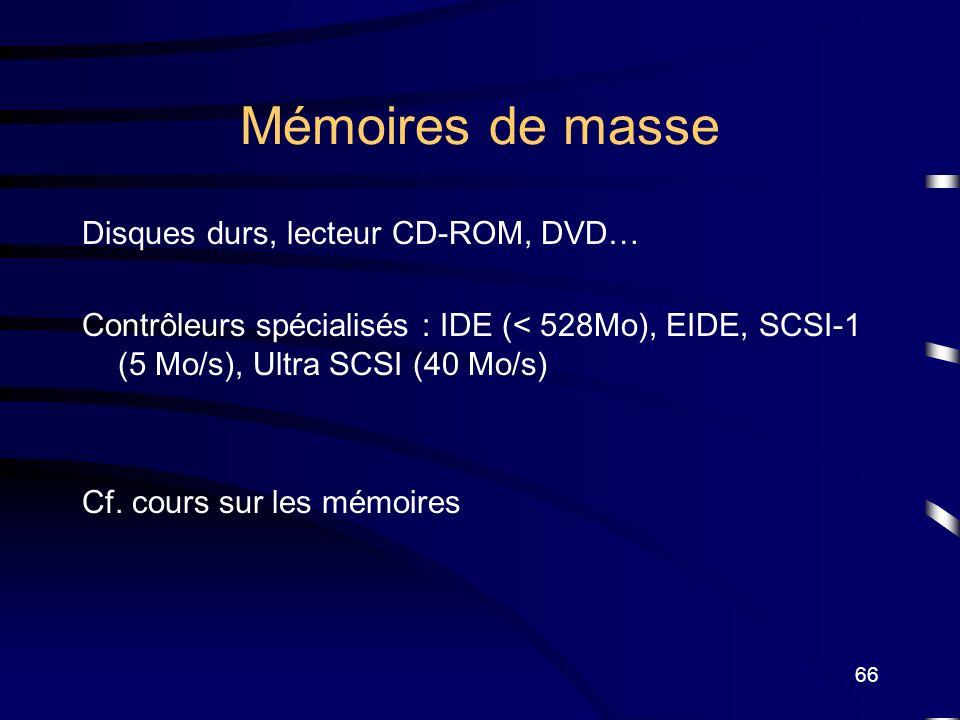 66 Mémoires de masse Disques durs, lecteur CD-ROM, DVD… Contrôleurs spécialisés : IDE (< 528Mo), EIDE, SCSI-1 (5 Mo/s), Ultra SCSI (40 Mo/s) Cf. cours
