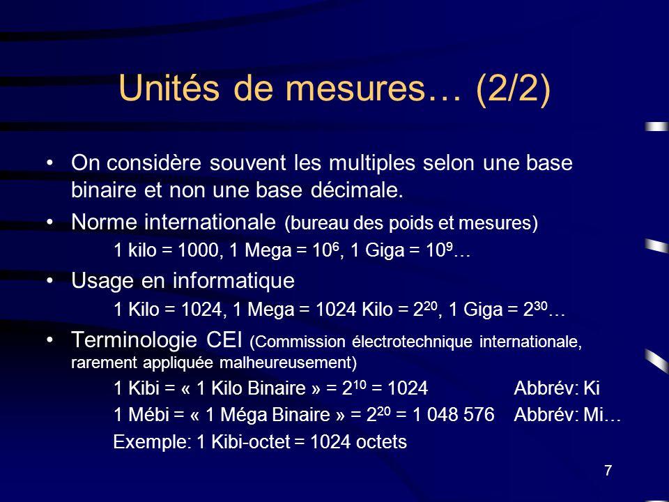 7 Unités de mesures… (2/2) On considère souvent les multiples selon une base binaire et non une base décimale. Norme internationale (bureau des poids