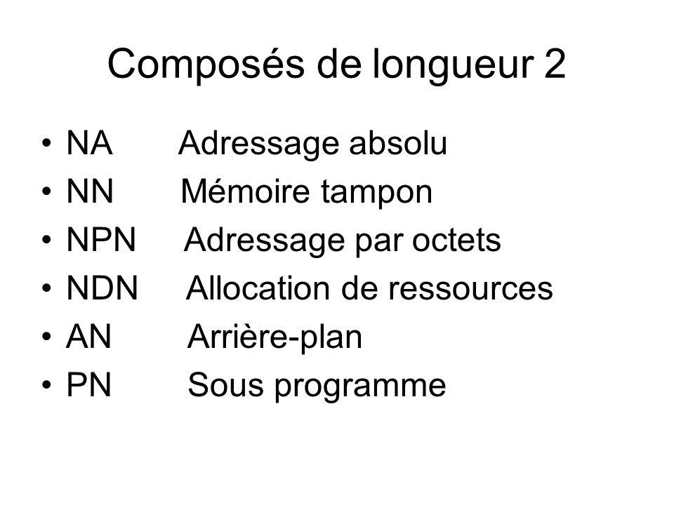Composés de longueur 2 NA Adressage absolu NN Mémoire tampon NPN Adressage par octets NDN Allocation de ressources AN Arrière-plan PN Sous programme