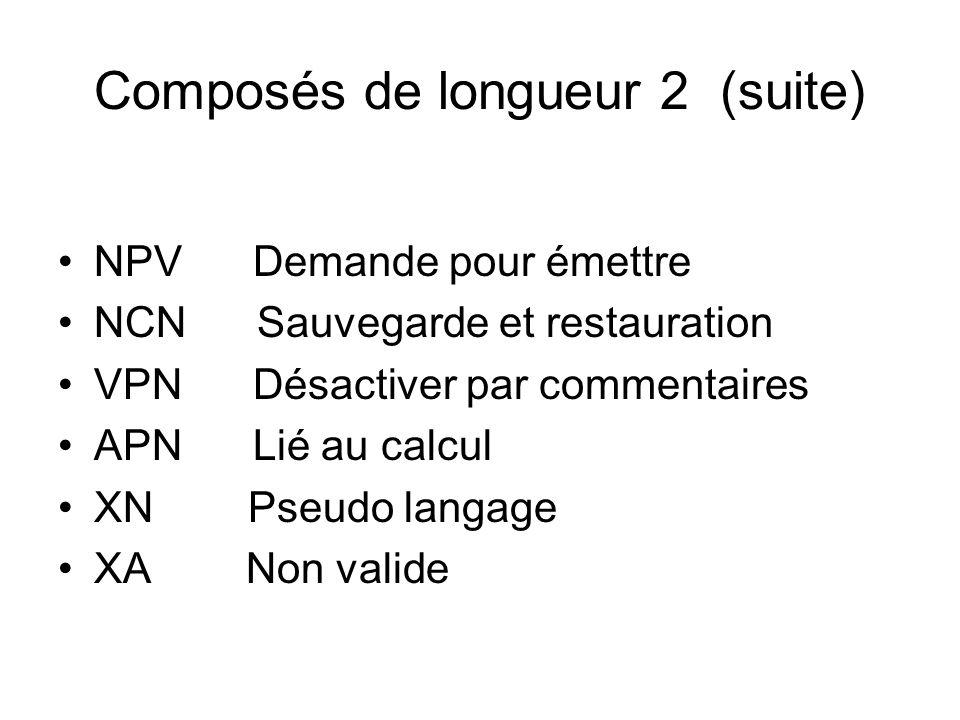 Composés de longueur 2 (suite) NPV Demande pour émettre NCN Sauvegarde et restauration VPN Désactiver par commentaires APN Lié au calcul XN Pseudo lan