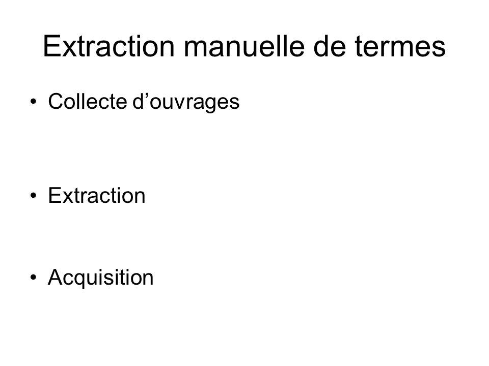 Extraction manuelle de termes Collecte douvrages Extraction Acquisition