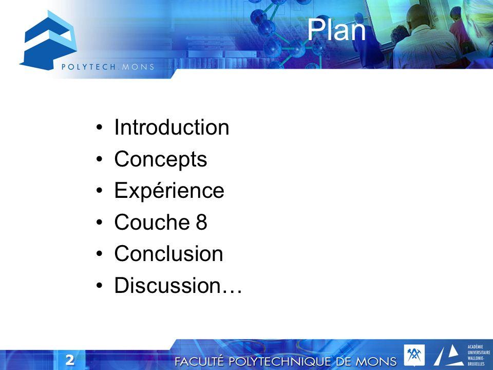 2 Plan Introduction Concepts Expérience Couche 8 Conclusion Discussion…