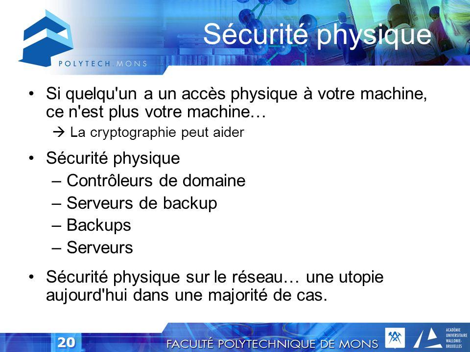 19 Expérience Sécurité physique Données Applications Machines Périphérie / Serveurs Réseau Utilisateurs Divers