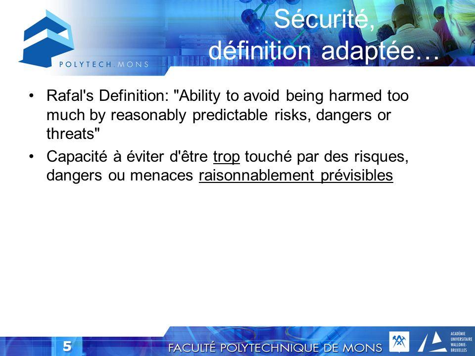 45 Modélisation:Arborescence de menace Obtient le mot de passe dun utilisateur (I) (S) (E) 1.1 Recherche une connexion avec une authentification de base Utilise SSL/TLS 1.2 Compromet la banque de données des informations de connexion du serveur A besoin dun accès physique au serveur 1.3 Un logiciel malveillant lit le mot de passe local de lutilisateur 1.3.1 Lutilisateur « installe » un virus lisant le mot de passe 1.3.2 Installe du code malveillant sur lordinateur A besoin dun accès physique à la machine