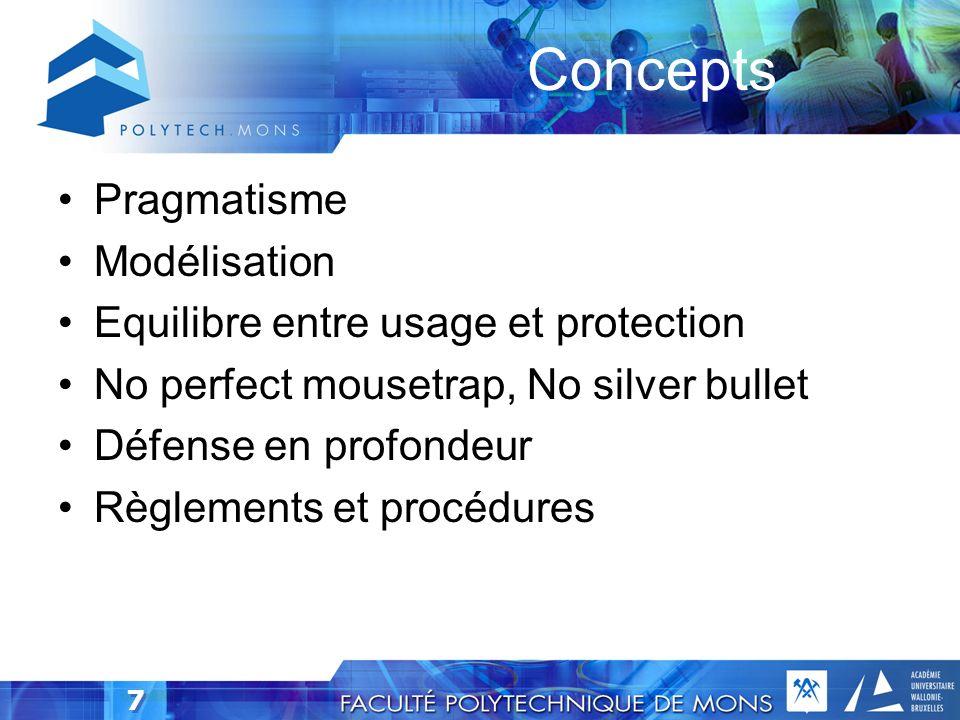 7 Pragmatisme Modélisation Equilibre entre usage et protection No perfect mousetrap, No silver bullet Défense en profondeur Règlements et procédures Concepts