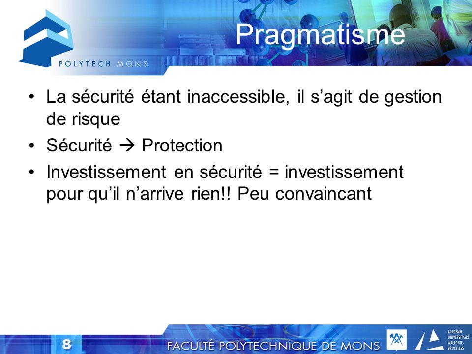8 Pragmatisme La sécurité étant inaccessible, il sagit de gestion de risque Sécurité Protection Investissement en sécurité = investissement pour quil narrive rien!.