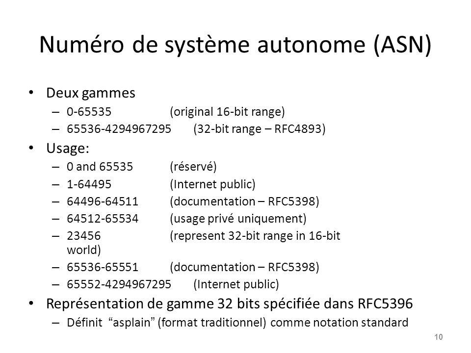 Numéro de système autonome (ASN) Deux gammes – 0-65535(original 16-bit range) – 65536-4294967295(32-bit range – RFC4893) Usage: – 0 and 65535(réservé)